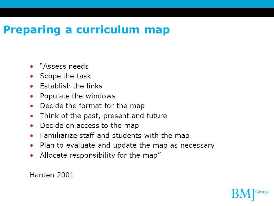 Preparing a curriculum map