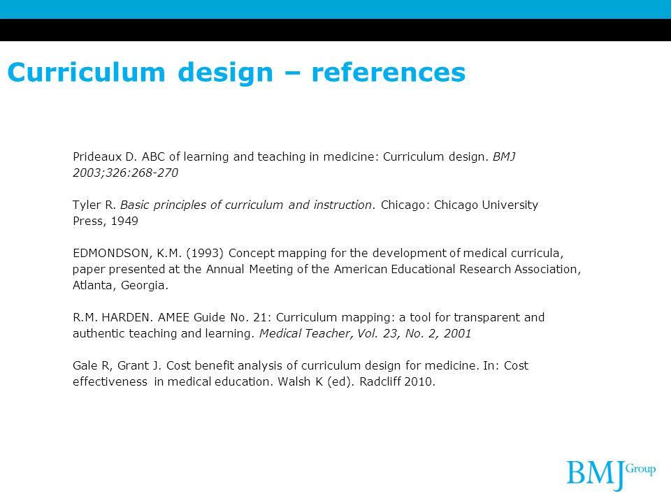 Curriculum design – references