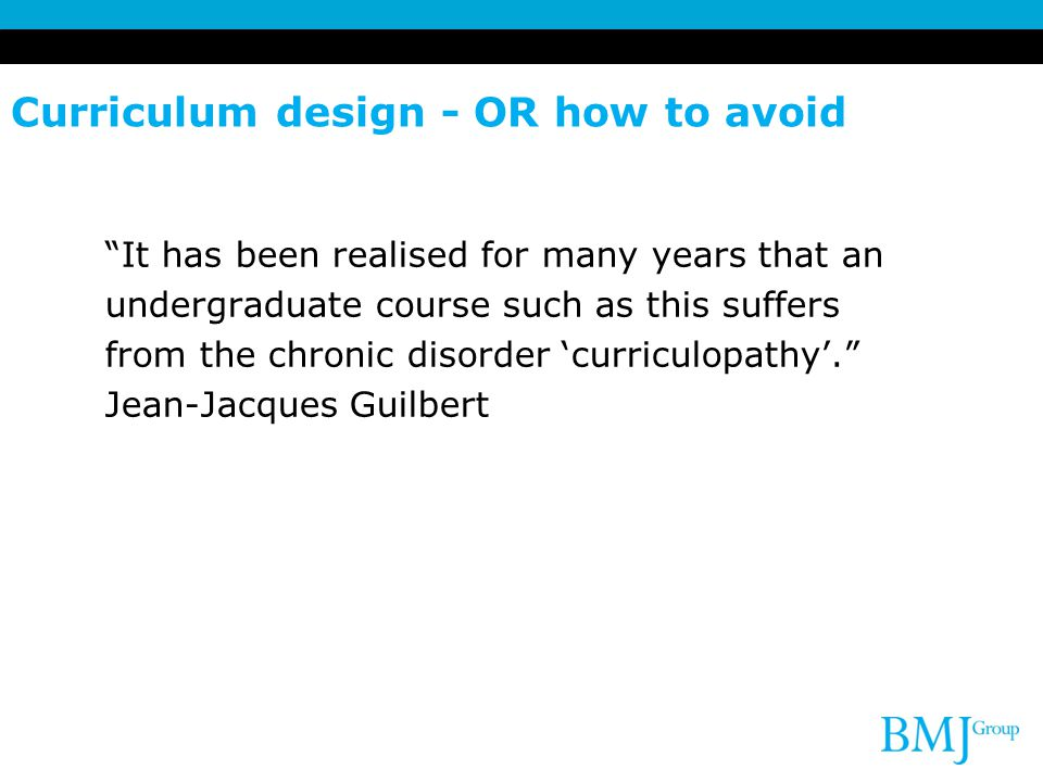 Curriculum design - OR how to avoid