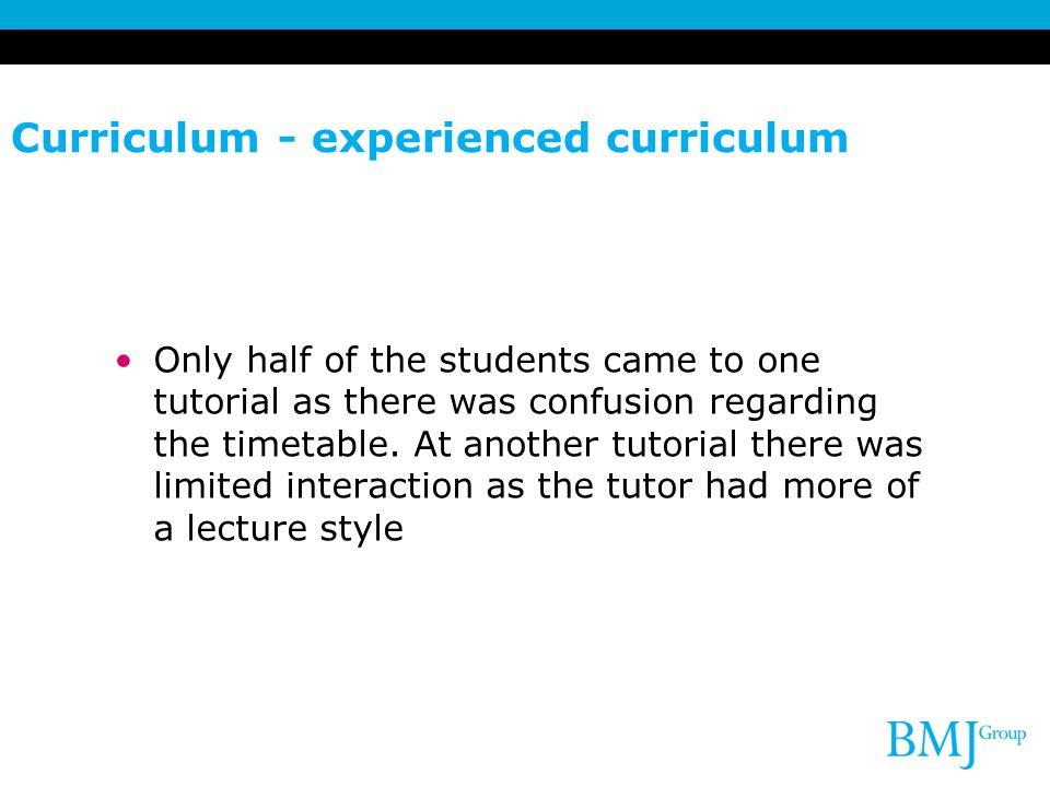 Curriculum - experienced curriculum