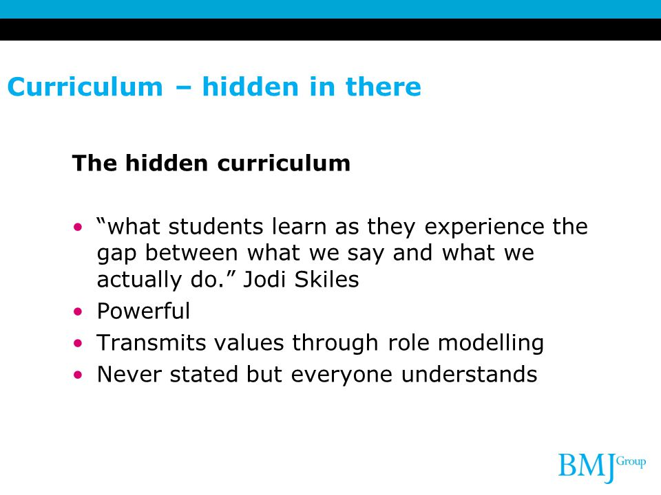 Curriculum – hidden in there