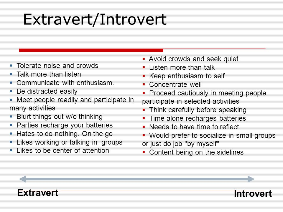 Extravert/Introvert Extravert Introvert Avoid crowds and seek quiet