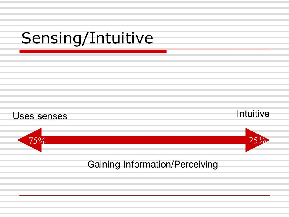 Sensing/Intuitive Intuitive Uses senses 75% 25%