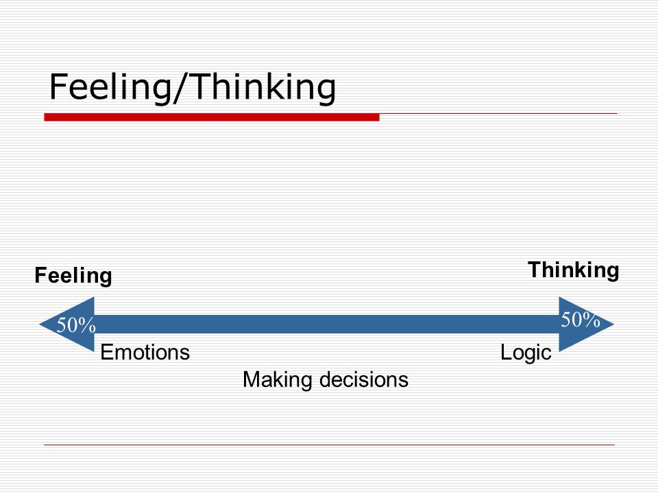 Feeling/Thinking Thinking Feeling 50% 50% Emotions Logic