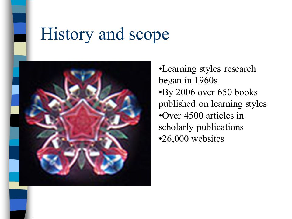 History and scope Learning styles research began in 1960s
