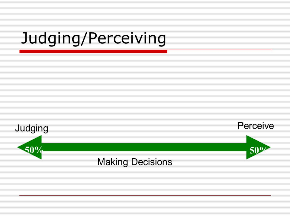 Judging/Perceiving Perceive Judging 50% 50% Making Decisions