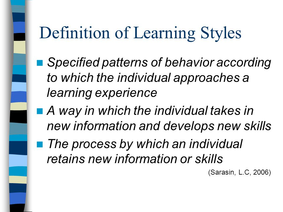 Definition of Learning Styles