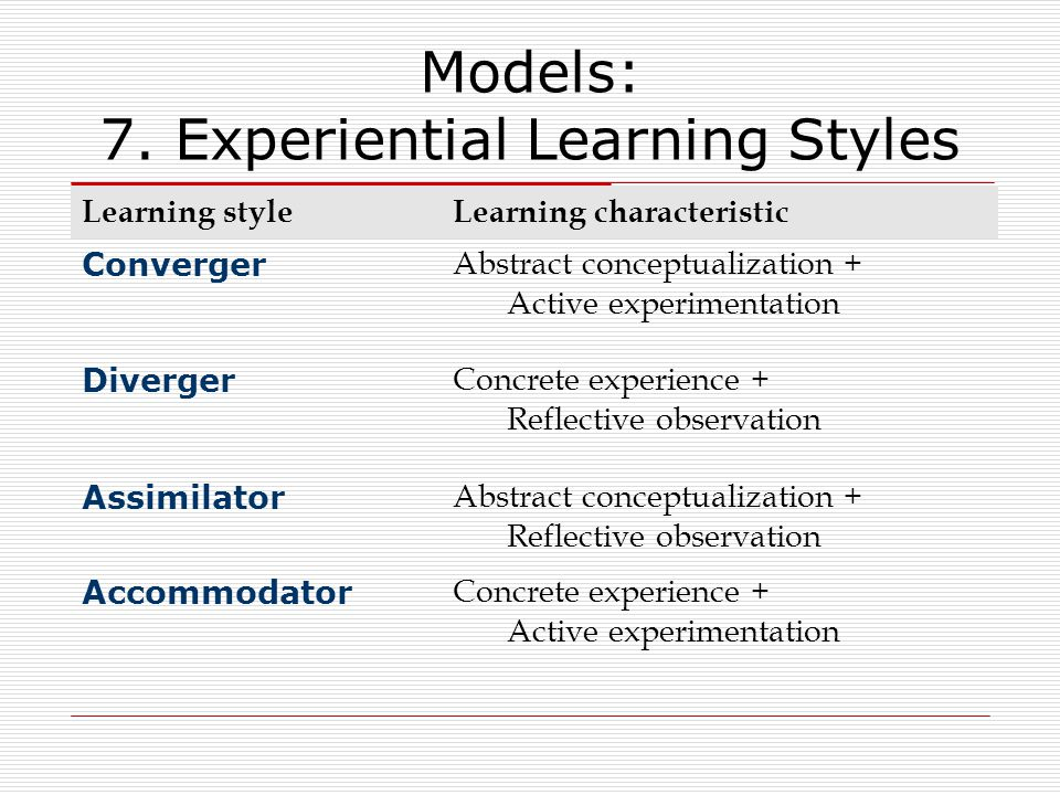 Models: 7. Experiential Learning Styles