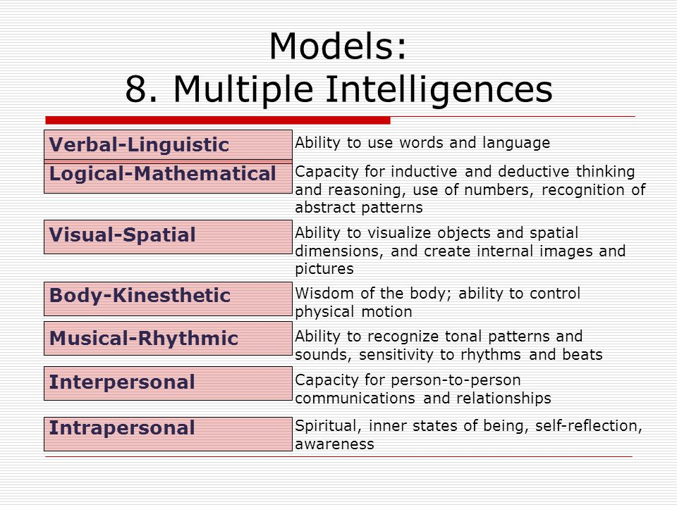 Models: 8. Multiple Intelligences