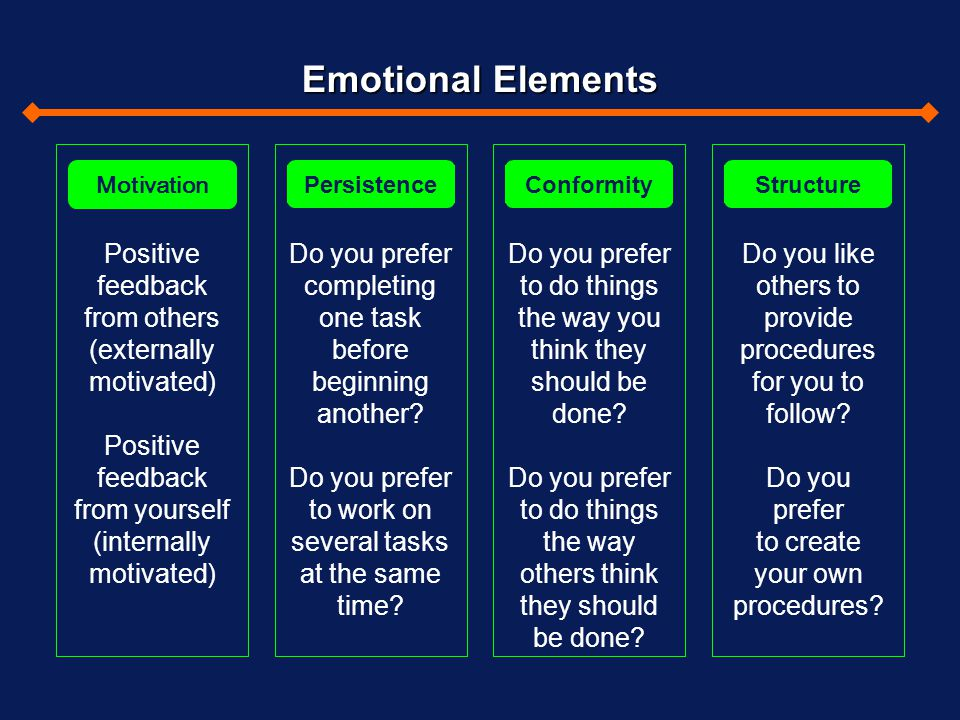 Emotional Elements Motivation. Persistence. Conformity. Structure. Positive feedback from others (externally motivated)