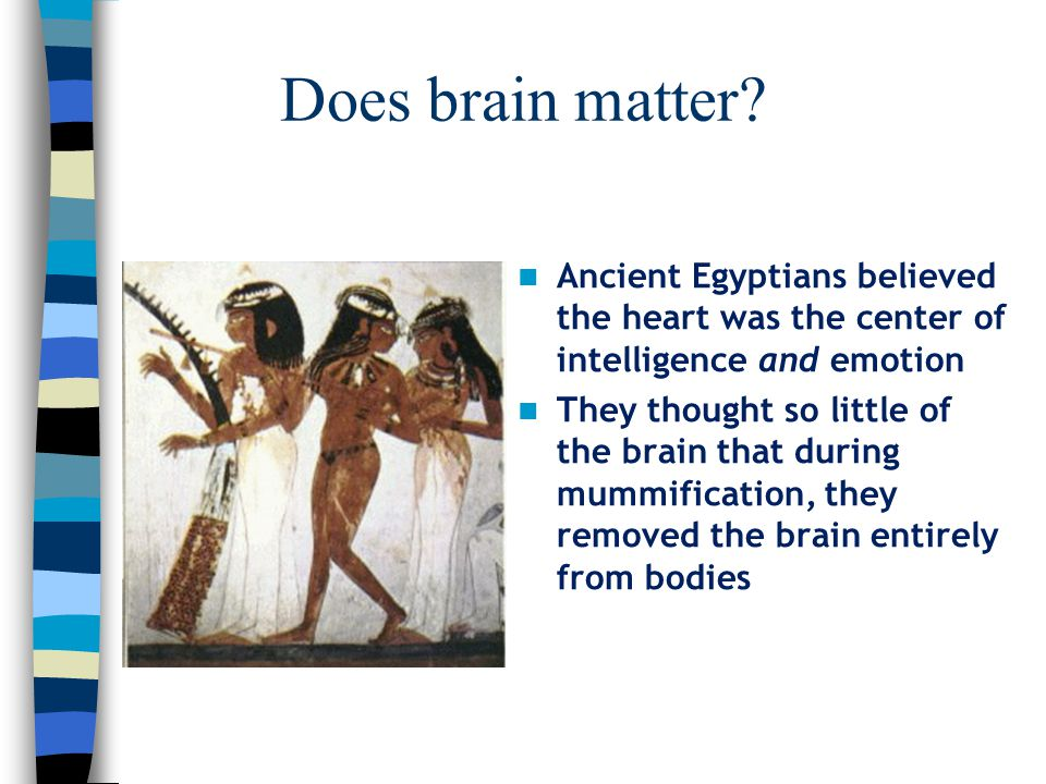 Does brain matter Ancient Egyptians believed the heart was the center of intelligence and emotion.