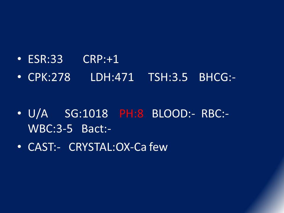ESR:33 CRP:+1 CPK:278 LDH:471 TSH:3.5 BHCG:- U/A SG:1018 PH:8 BLOOD:- RBC:- WBC:3-5 Bact:-