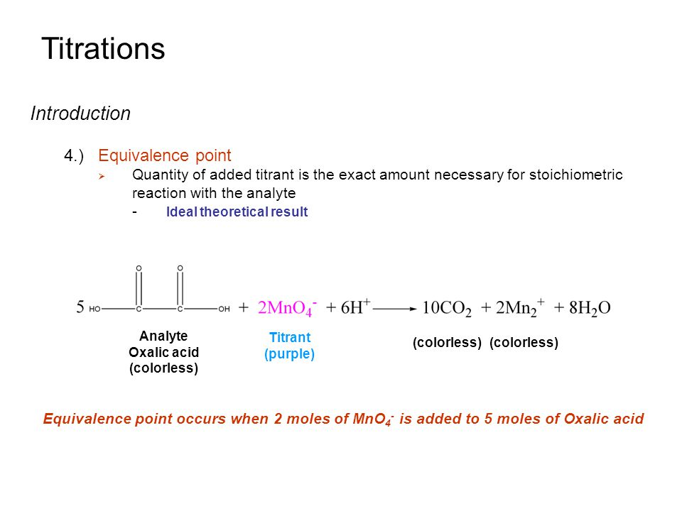 Titrations Introduction 4.) Equivalence point