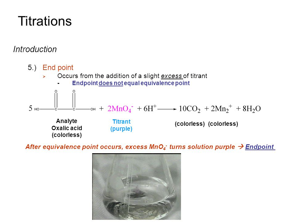 Titrations Introduction 5.) End point