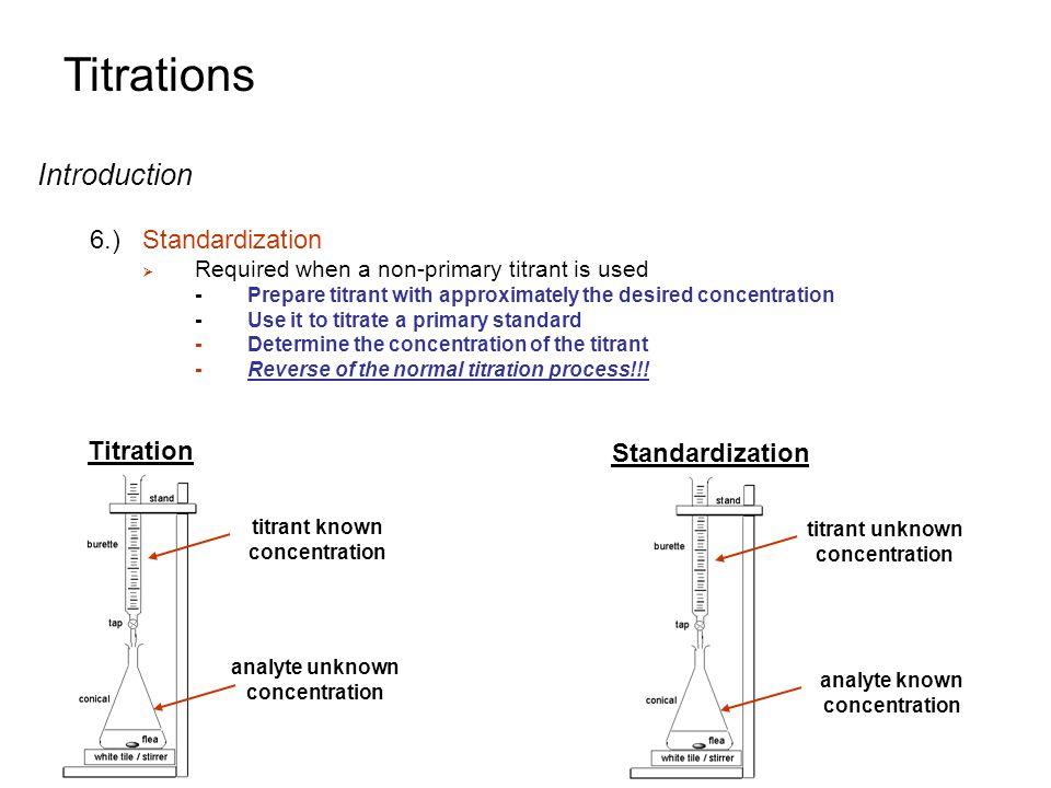 Titrations Introduction 6.) Standardization Titration Standardization