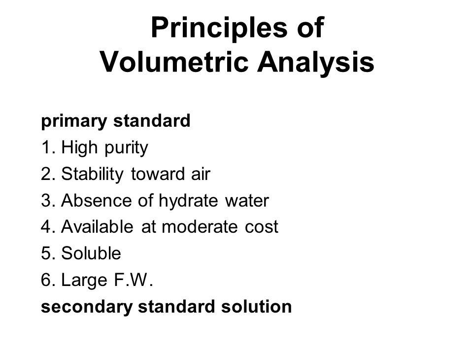 Principles of Volumetric Analysis