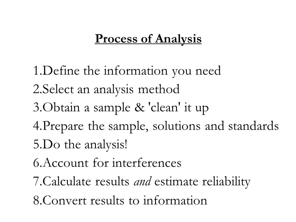 1.Define the information you need 2.Select an analysis method