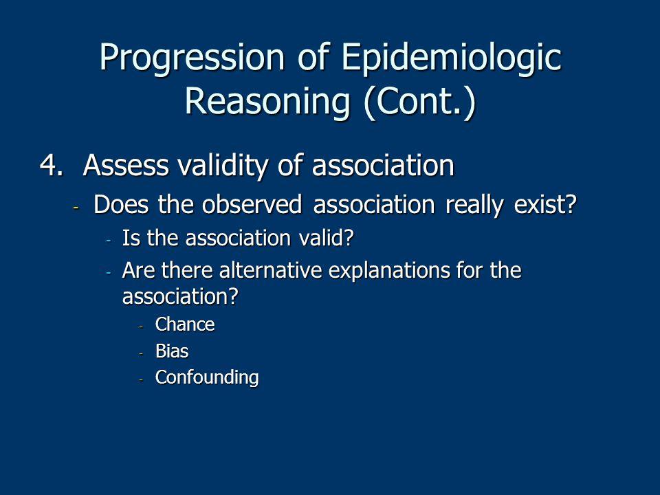 Progression of Epidemiologic Reasoning (Cont.)