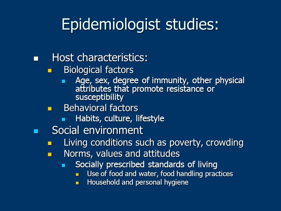 Epidemiologist studies: