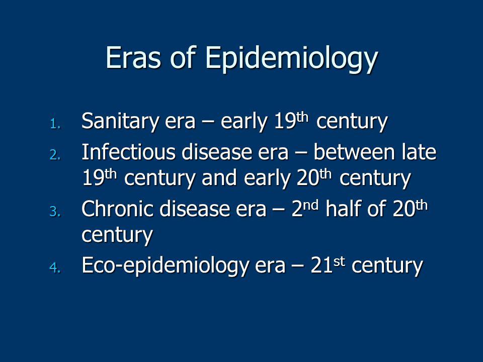 Eras of Epidemiology Sanitary era – early 19th century