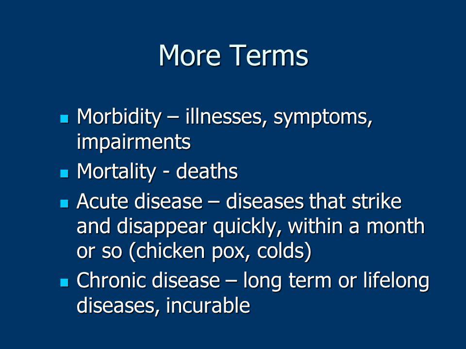 More Terms Morbidity – illnesses, symptoms, impairments