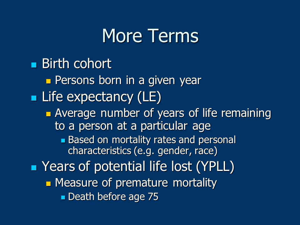 More Terms Birth cohort Life expectancy (LE)