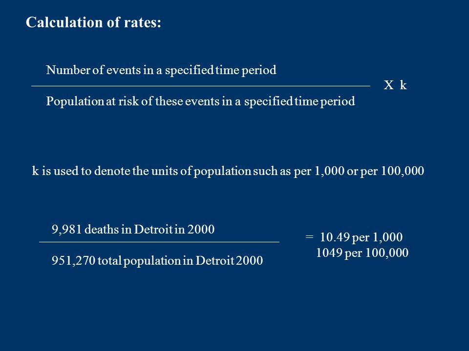 Calculation of rates: Number of events in a specified time period