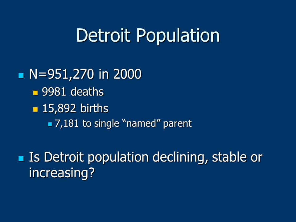 Detroit Population N=951,270 in 2000