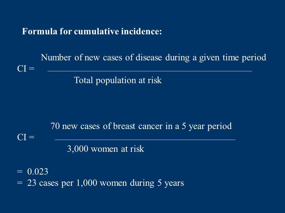 Formula for cumulative incidence: