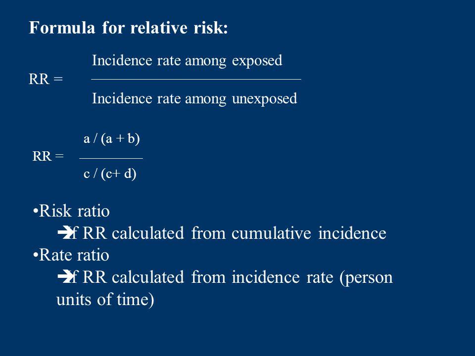 Formula for relative risk: