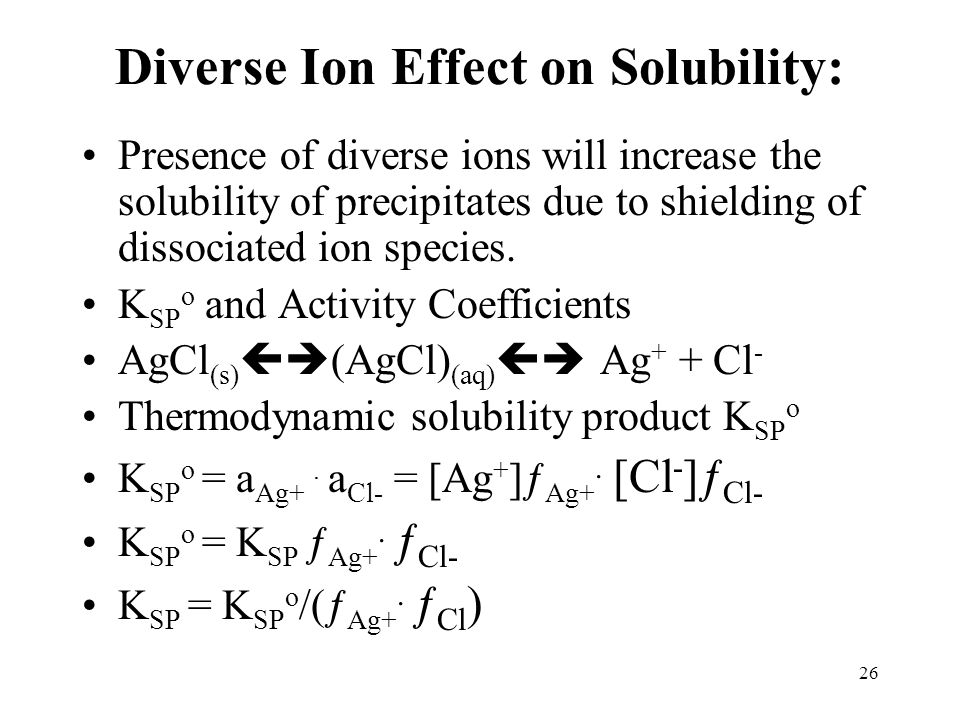 Diverse Ion Effect on Solubility: