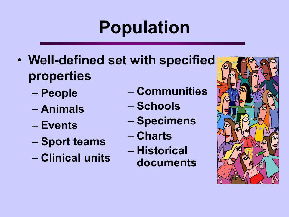 Population Well-defined set with specified properties People Animals