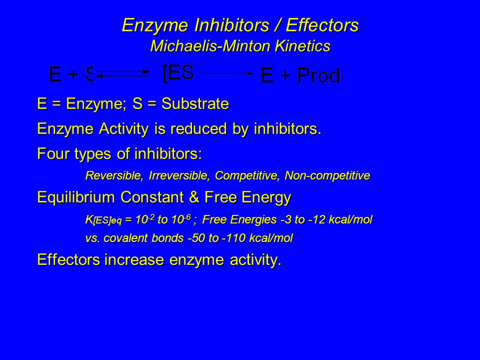 Enzyme Inhibitors / Effectors Michaelis-Minton Kinetics