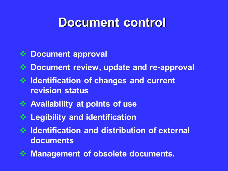 Document control Document approval