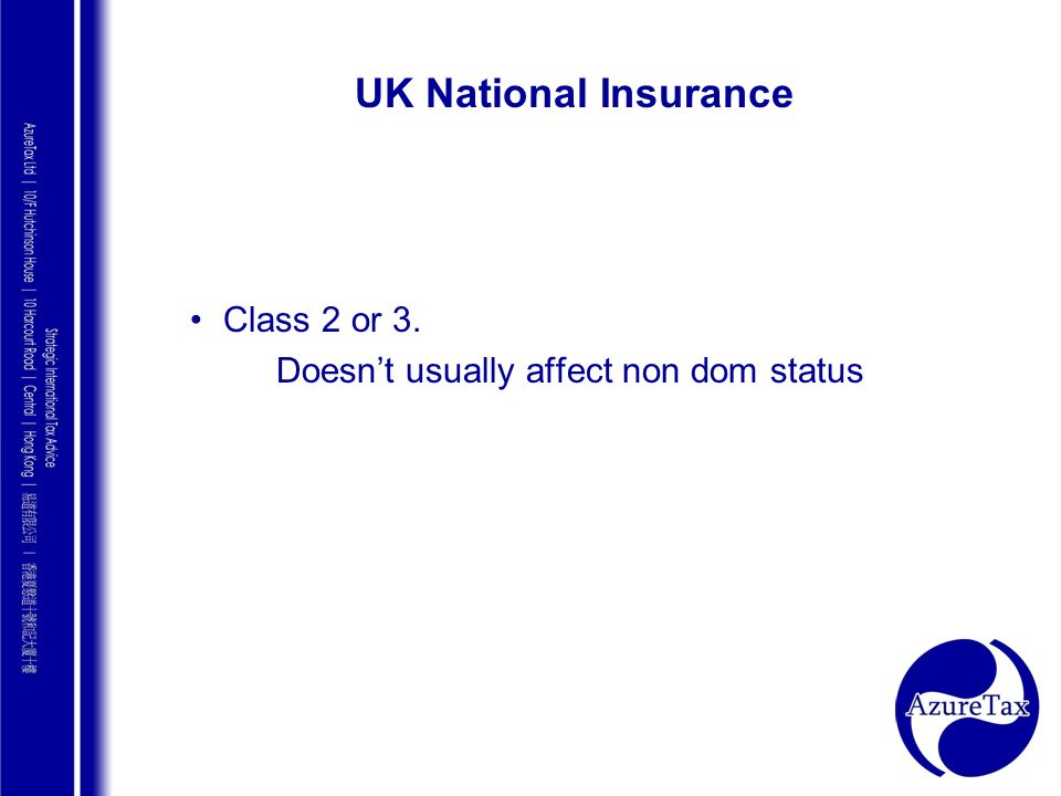 UK National Insurance Class 2 or 3.