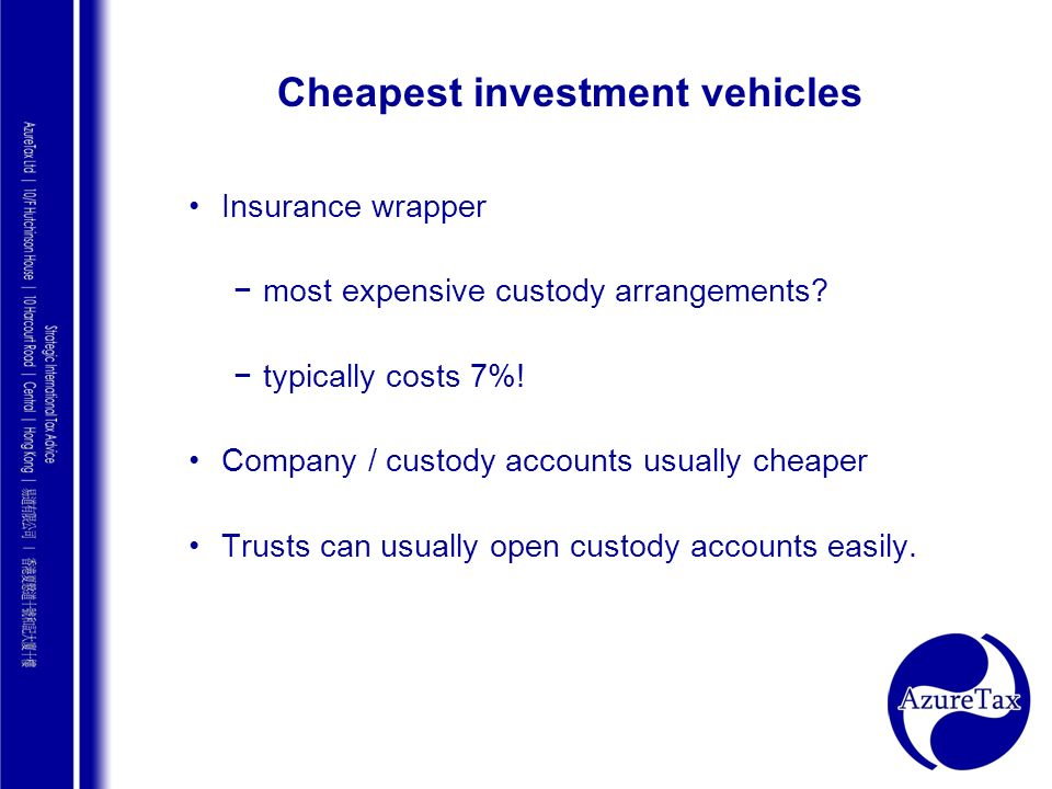 Cheapest investment vehicles