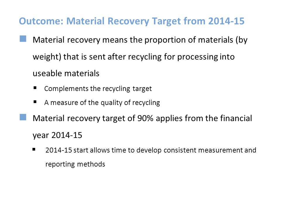 Outcome: Material Recovery Target from 2014-15