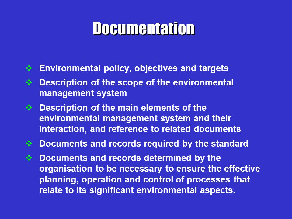 The elements contained in the environmental management system