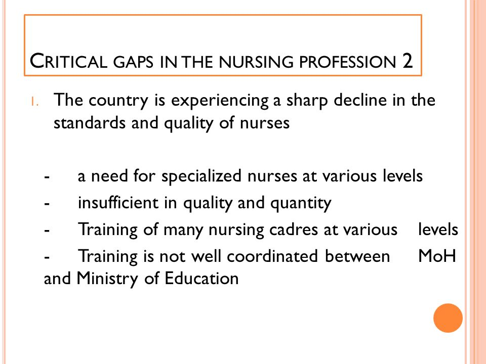Critical gaps in the nursing profession 2