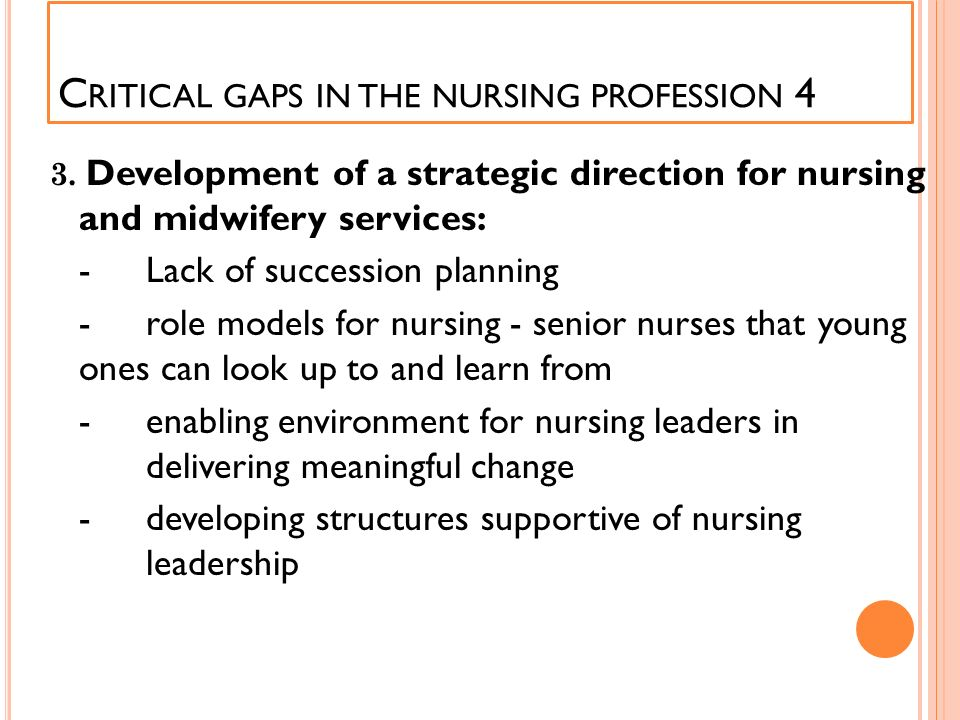 Critical gaps in the nursing profession 4