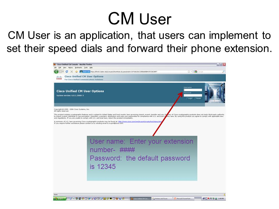 CM User CM User is an application, that users can implement to set their speed dials and forward their phone extension.