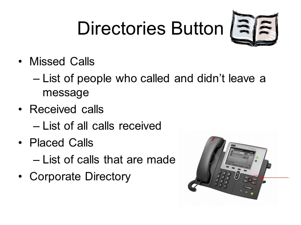 Directories Button Missed Calls