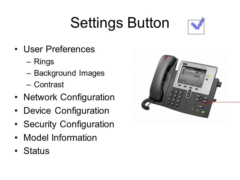 Settings Button User Preferences Network Configuration