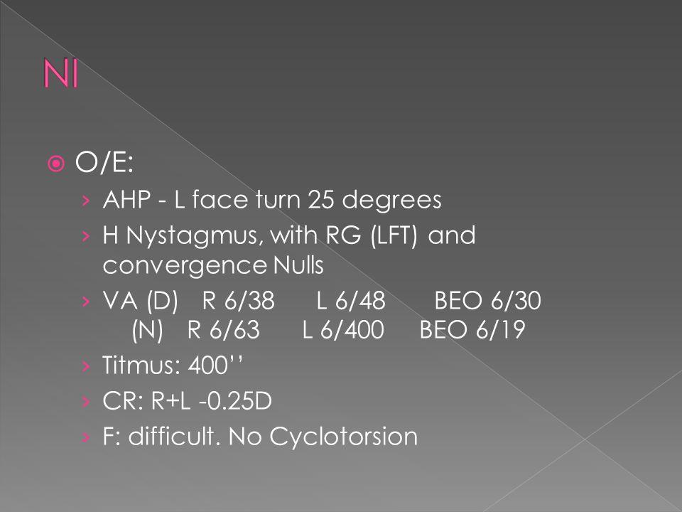 NI O/E: AHP - L face turn 25 degrees