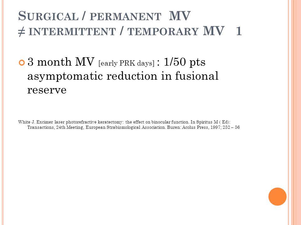 Surgical / permanent MV ≠ intermittent / temporary MV 1