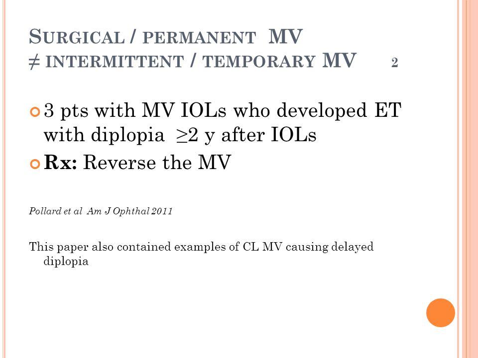 Surgical / permanent MV ≠ intermittent / temporary MV 2