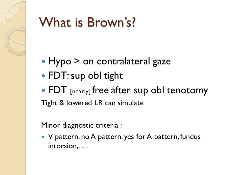 What is Brown's Hypo > on contralateral gaze FDT: sup obl tight
