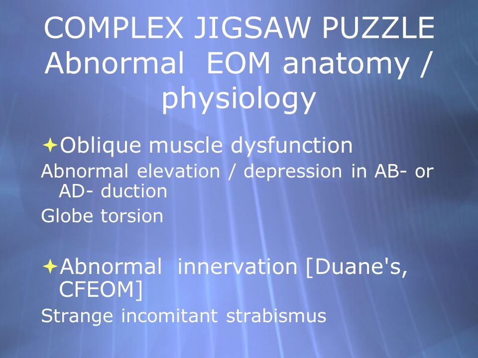 COMPLEX JIGSAW PUZZLE Abnormal EOM anatomy / physiology