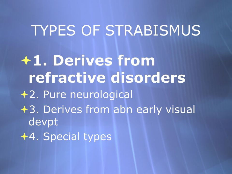 1. Derives from refractive disorders