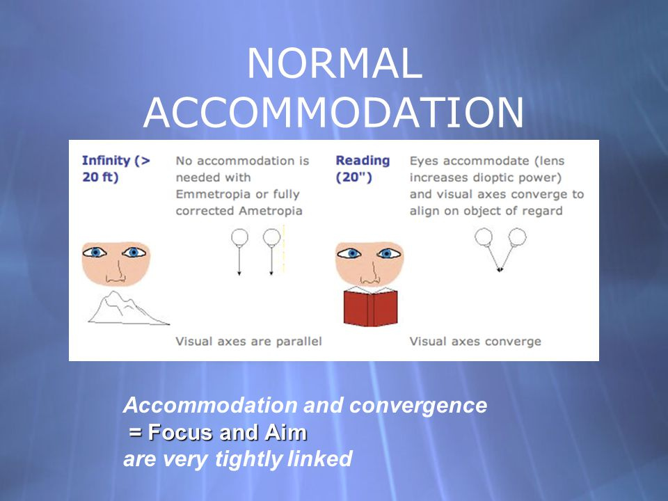 NORMAL ACCOMMODATION Accommodation and convergence = Focus and Aim